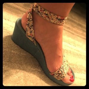 Velcro Denim Wedges
